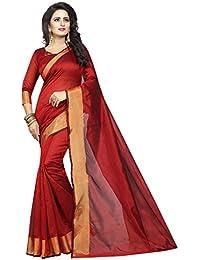 Ishin Art Silk Red Golden Zari Weaving Solid Party Wear Wedding Wear Casual Wear Festive Wear Bollywood New Collection...