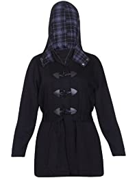 Womens Check Printed Hood Hoody Hooded Ladies Long Sleeves Zip Fastening Pockets Belted Toggle Duffle Jacket Coat Plus Size