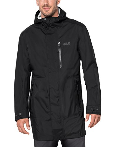Jack Wolfskin Men's Crosstown Raincoat, Black, Large