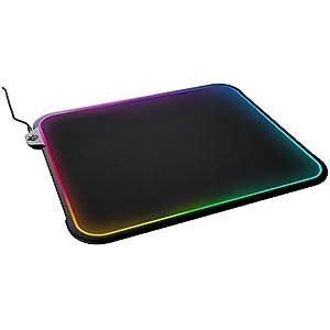 SteelSeries QcK Prism – Gaming-Mauspad – 320mm x 270mm x 9mm – Reaktive RGB-Beleuchtung – Zweifach Texturierte Oberfläche – Schwarz