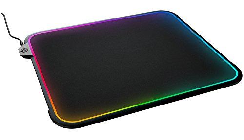 SteelSeries QcK Prism - tapis de souris de jeu - éclairage réactif RGB - surface à double texture 320mmx270mm - compatible avec souris laser et optiques - noir