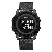 Digital Sport Watch, Waterproof Outdoor Electronic Wristwatch, with Alarm, Stopwatch, Calendar, LED Display, Shockproof, Watches for Boys Teenagers Junior Girls Ladies, R90003 (Black)