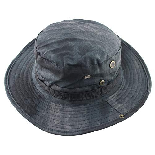 HAIRJDSR Sommer Outdoor Jagd Angeln Eimer Hut Tarnung Hüte Nepalese Cap Wandern Sonnenhut mit verstellbarem Gurt Hf