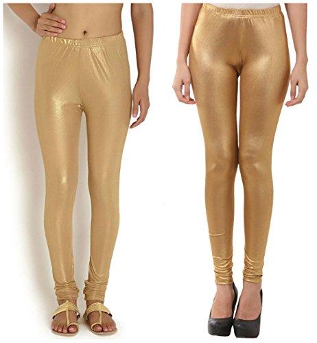 FashGlam Women Shimmer Legging - Combo - Light & Dark Golden