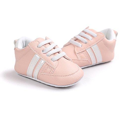 Itaar, Scarpe primi passi bambini White + Gold Stripe 12 - 18 mesi Orange pink