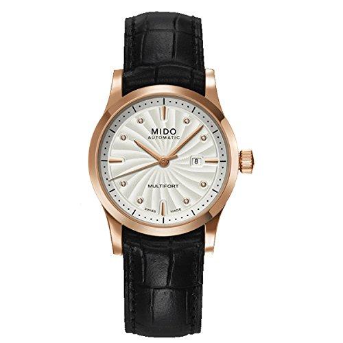 Mido Multifort M0050073603620 - Reloj para mujeres, correa de cuero color negro