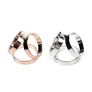 Packung mit 2 Fashion Schal Ring Schnalle Modern Einfache Triple Slide Schmuck Shiny Silk Schal Verschluss Clips Kleidung Halstuch Ring Wrap Halter (Rose Gold + Silber)