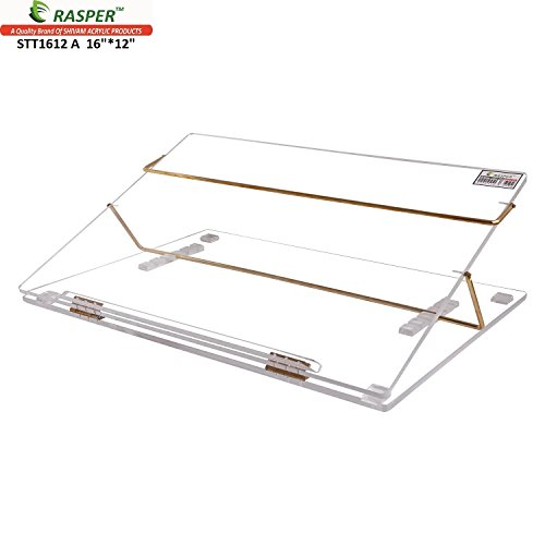Rasper Clear Acrylic Table Top Elevator Writing Desk (SMALL SIZE 16*12 INCHES) With Adjustable Height