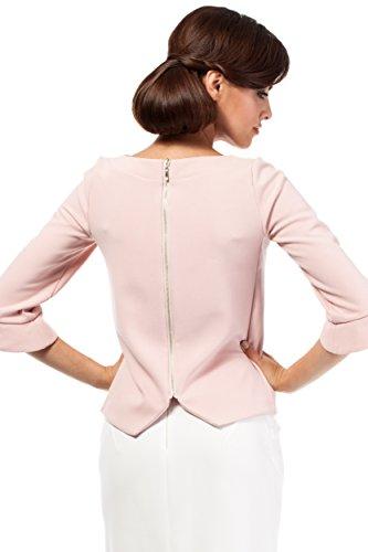 MOE Damen Bluse mit Reißverschluss und 3/4- Ärmel Puder