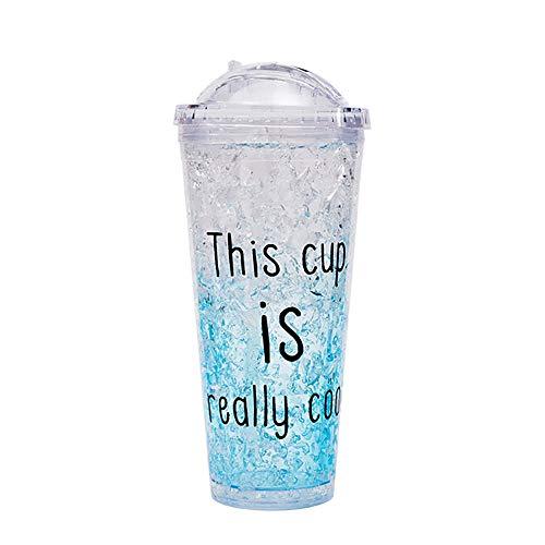 MIJIN Eisbecher Doppelschicht-Gel mit Wasserbecher, versiegelter Kunststoff mit Deckel Strohkühlbecher Trinkwassertransport im Freien,Blue