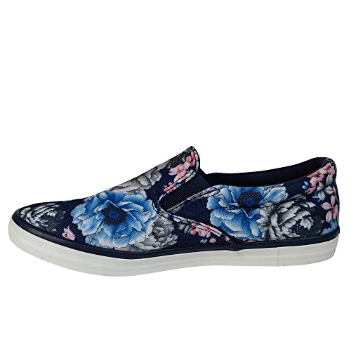 Damen Sneakers Slipper Turnschuhe Ballerinas Glitzer Low Top ST107 Blau Blumen