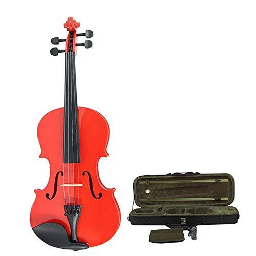 Violino Violino acustico principiante Handmade Violino multiplo rosso lucido Completo di legno massello naturale Elm Violino dell'insegnante Set con guscio duro Rosone arco Dimensione 4 / 4,3 / 4,1 /