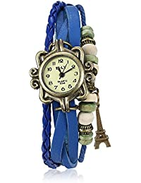 Naivo Women's Quartz Brass Plated Stainless Steel and Leather Casual Watch, Color:Blue (Model: NAIVO-WATCH-1209)