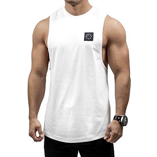 Hyperfusion Core Cut Off Tank Shirt Tank Top Gym Fitness (XXL, Weiß) (Center Street)