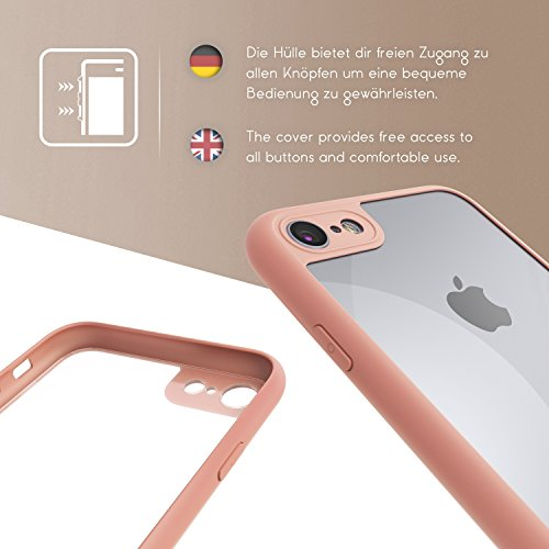iPhone 7 Coque, Urcover Simply Back Case Étui Apple iPhone 7 Case TPU Silicone Bumper Rose Housse Téléphone Smartphone Rose