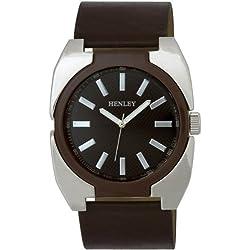 Henley Herren-Armbanduhr Henley Gents Polished Chrome and Enamel Fashion Watch Analog silikon braun H02051.2