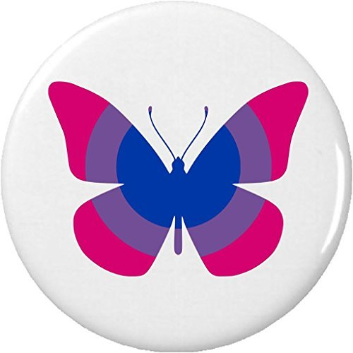Butterfly Bisexual Flag Colors 2.25' Large Pinback Button Pin LGBT