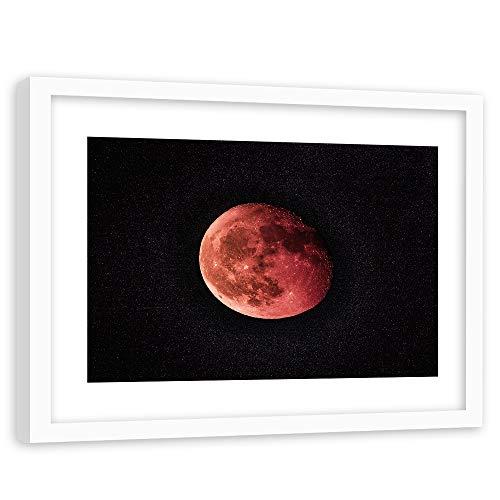 Feeby Tableau Cadre Blanc Astronomie Impression Art Lune Nature Univers Noir 90x60 cm