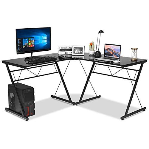 COSTWAY Computertisch L-Form, Eckschreibtisch mit Glasplatte, Schreibtisch schwarz, PC-Tisch für Zuhause und Büro, Ecktisch Winkelschreibtisch