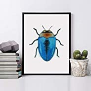 Insecto pared, Cuadro de pared enmarcado con madera natural, Impresión artística, impresión original, impresio