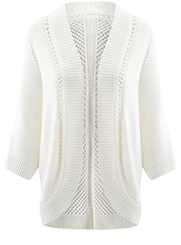 oodji Ultra Damen Ajour-Cardigan ohne Verschluss Weiß (1000N)