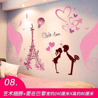 MEIWALL Chevet chaud romantique peinture 3D Autocollant Love In Paris Stickers muraux amovibles pour enfants chambre d'enfant chambre salon cuisine enfants chambre mur art décor autocollant