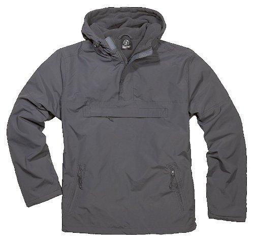 BRANDIT Side Zip Hooded Windbreaker Kapuzenjacke m. Fleece Futter, XXL Front Zip Windbreaker Jacke