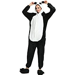 Missley Adulto Unisex Flanela Unicornio Cartoon Animal Novedad Halloween Pijama Cosplay (S, Panda)