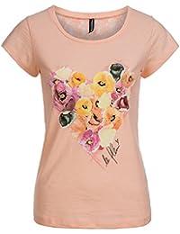 Madonna T-Shirt Damen ARWEN Rücken Spitze Blumenherz Motiv Shirt MF-408078
