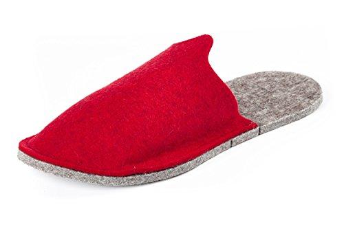 Orthopant Gästepantoffeln - Hausschuhe aus naturreinem Filz für kuschelige Wärme und Wohlbefinden - Rot, Gr. M -