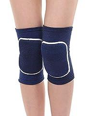 Idea Regalo - Itoda 1 coppia bambini ginocchiere ginocchiera traspirante Thicked ginocchia brace Protector Pad Crash flessibile antiscivolo spugna ginocchiera sostegno per gattonare Dancing, Blue, M(Age 7-12)