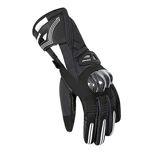 Winter Motorrad-Handschuhe Padded Warm wasserdicht Winddicht Reitmotorradfahrer Fall Off-Road Racing Men (Black,XXL)