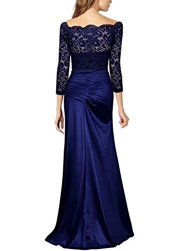 Miusol Damen Elegant Cocktailkleid Spitzen Vintage Kleid Off Schulter Brautjungfer Langes Abendkleid Dunkelblau Gr.S - 2