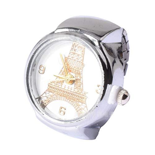 r Eiffelturm-Finger-Uhr-Ring-Uhr, runde Digital-Zeiger-Mehrzweckeinstellbare Dehnbare Armband-Unisexfingeruhren, Kindertagesgeschenk,Gold ()