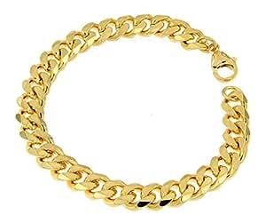 Panzerarmband 750er Gold Doublé 9 mm breit, 16 cm, Armband Herren-Armband Goldarmband Damen Geschenk Schmuck ab Fabrik Italien tendenze GGY9-16