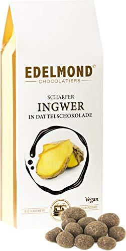Edelmond Bio scharfer Ingwer. In Dattel-Schokolade ohne Zucker-Zusatz. 125g