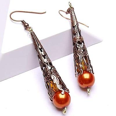 Boucles d'Oreilles Pendantes Longues Cuivre Orange, Cadeau Femme, Cadeau Anniversaire, Cadeau Jeune Fille, Cadeau Amie