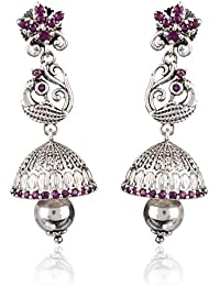 Chooseberry Pink & Silver Peacock Jhumka Earrings For Women Stylish Daily Wear