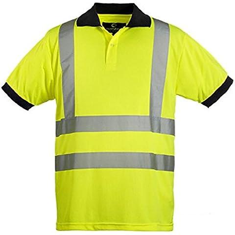Euro-Protection-Polo de alta visibilidad de malla de poliéster 140 gr.colori piquet vari. bandas 3 m., amarillo