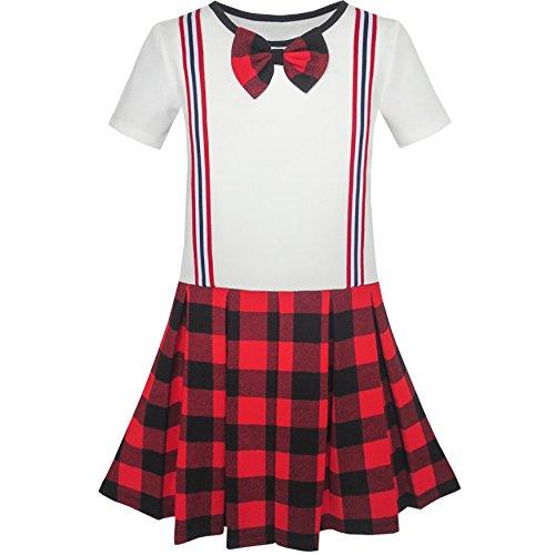 KR95 Sunny Fashion Vestido para niña Colegio Uniforme rojo Blanco Comprobar Liga Falda 8 años