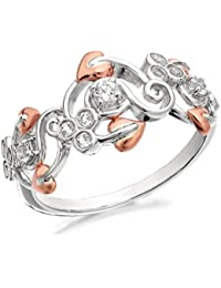 Clogau Womens Ladies Jewellery Silver And 9ct Rose Gold Origin White Topaz Ring