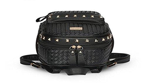 LDMB Damen-handtaschen Frauen PU-lederner beweglicher Rucksack Einfache wilde feste Farben-Niete verziert Schultern-Beutel für Kursteilnehmer Black