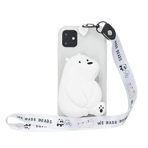 """Miagon Silikon Hülle für iPhone 11 6.1\"""",3D Süß Brieftasche Lager Tasche Design mit Halskette Kordel Schnur Handykette Necklace Band,Weiß Bär"""