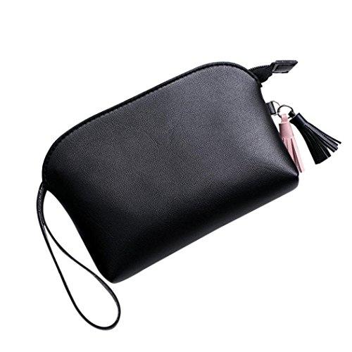 Manadlian Mode Frau Quasten Lichee-Muster-Muscheltyp Handtasche Münztelefon-Tasche 2017 Damen Weiche PU Leder Beuteltote Schultertaschen für Frauen (Schwarz) (Quaste-abend-geldbeutel)