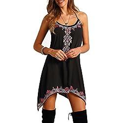Vestido para Mujer, Oyedens Boho Mujeres Sin Mangas Partido De Playa De Verano Corto Vestido Mini para El Partido, Club, Boda Y Cita (M)