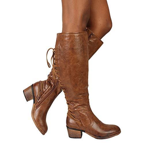 TianWlio Stiefel Frauen Herbst Winter Schuhe Stiefeletten Boots Mode Leder Schnürstiefel High Heels Stiefel Winter Sexy Kniestiefel