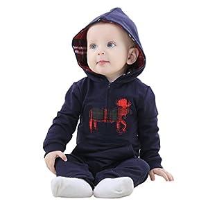 MICHLEY Primavera Elk Stile con cappuccio in cotone tuta del bambino pagliaccetti svegli Playsuits Dark blue-80cm