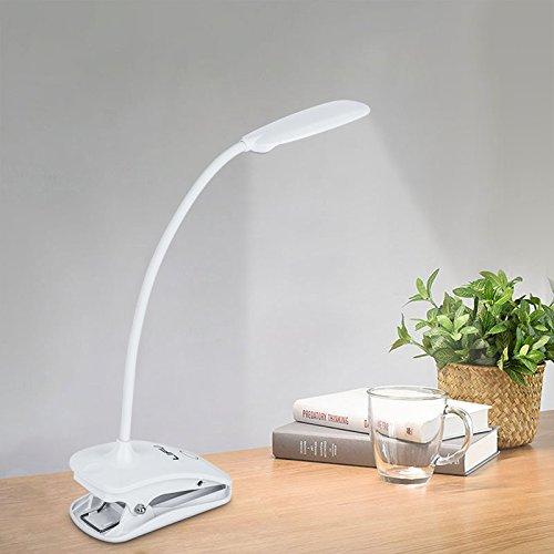 LED Schreibtischlampe, LIFU wiederaufladbare Leselampe 2 Farb- und 3 Helligkeitsstufen dimmbares Leselicht Touchfeldbedienung Schwanenhals Clip-on Tischlampe mit USB-Anschluss Tischleuchte - Weiß (Clip-on-lichter Zum Lesen)