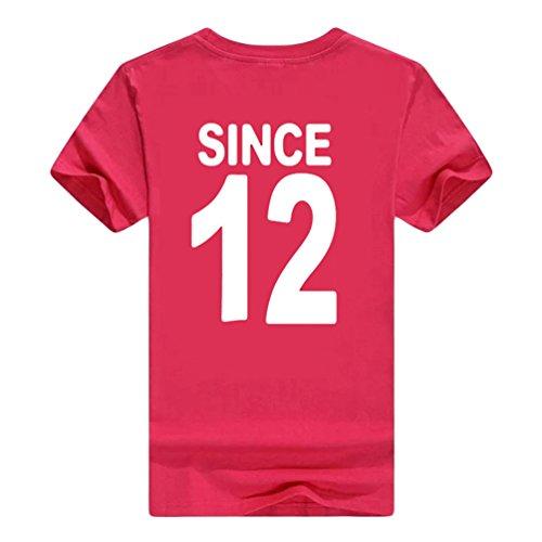 NiSeng Coppia Stampa Camicia Casual Manica Corta T-Shirt Estate Lovers Camicia Magliette Rose Bianco1