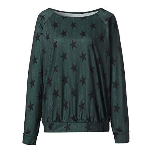 Femme T-Shirt Grande Taille Col Rond Top Large Tunique Casual Haut Blouse Motif d'étoile Chemisier Femme Chic Manches Longues Tops Pull Binggong